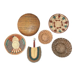 Hand-Woven Basket Wall Accents, Set of 6
