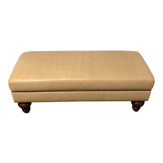 Custom Taupe Leather Bench