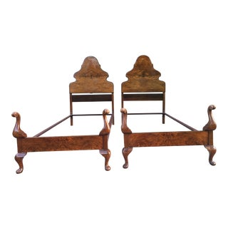 Antique Twin Bed Chestnut Frames - A Pair