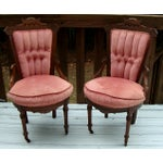 Image of Antique Victorian Eastlake Velvet Chairs - A Pair