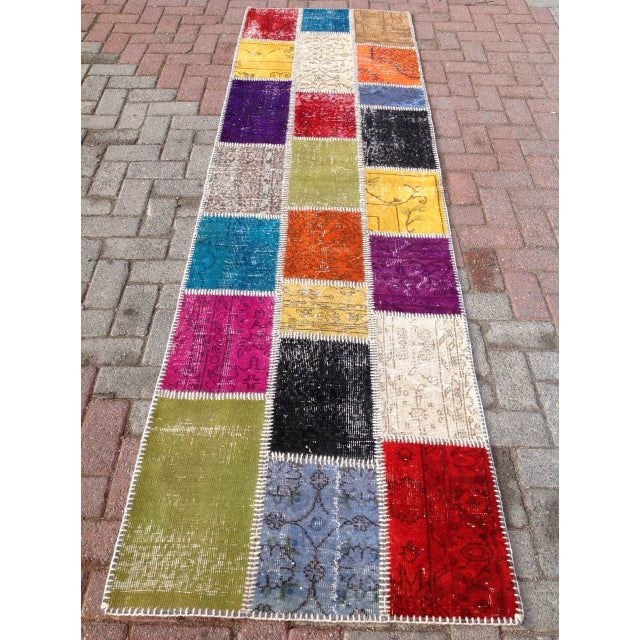 "Multicolor Turkish Runner Rug, 2' 7"" x 9' 2"" - Image 2 of 6"