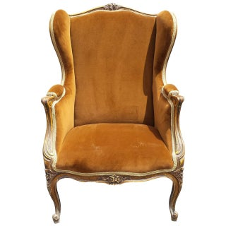 French Louis XV Style Bergere Arm Chair