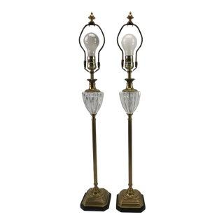 Frederick Cooper Brass & Lucite Buffet Lamps - A Pair