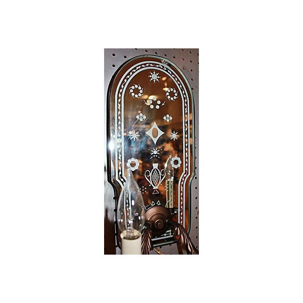 Bronze Metal Mirror-Backed Sconces - A Pair - Image 5 of 6