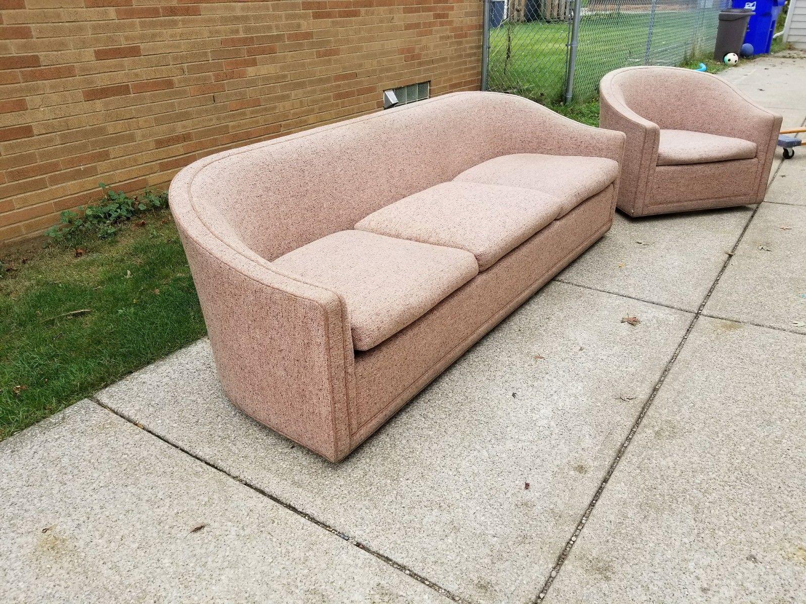 Larsen Furniture Jack Lenor Larsen Low Sofa And Swivel Lounge Chair   A  Pair   Image