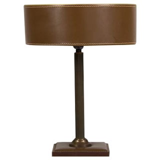 Jacques Adnet Leather Lamp, Contrast Stitching, Brass Column, France c.1940