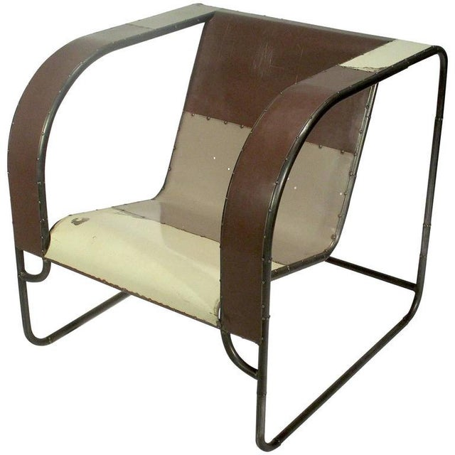 Club Chair Hand Fabricated From Reclaimed Steel by Midwestern Artist - Image 1 of 2