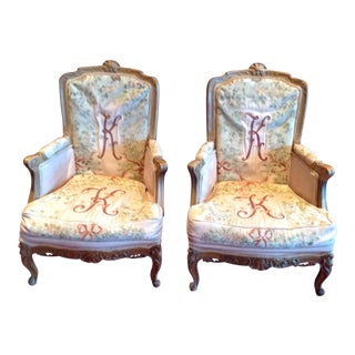 Custom Made Louis XV Walnut Arm Chairs - a Pair