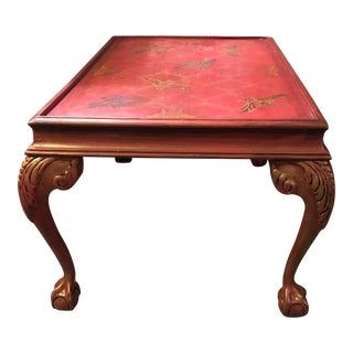 Hand Painted Aged Red Coffee Table