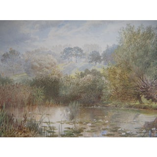 Edward Hull, Lilly Pond, Fine English Watercolor