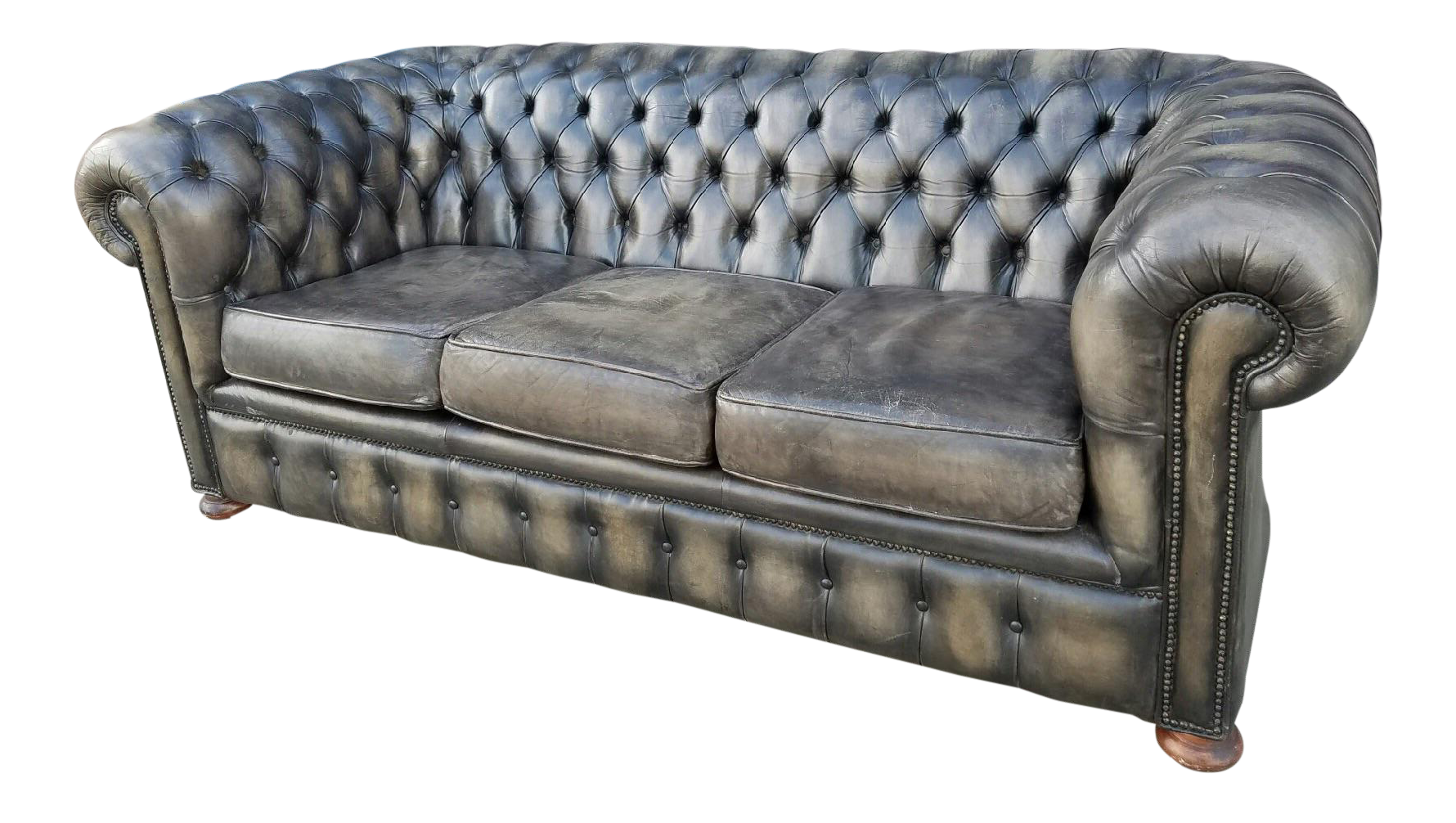 Grey Dye Aged Leather Chesterfield Sofa Chairish