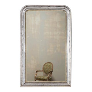 Antique French Louis Philippe Silver Gilt Mirror circa 1890 (30 1/2″w x 50 3/4″h)