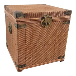 Vintage Woven Wicker Storage Box