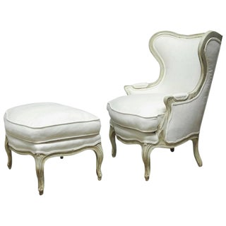 Louis XV Painted Wing Chair & Ottoman