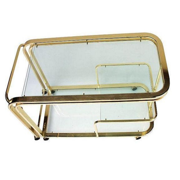 Image of Brass and Glass Bar Cart by Milo Baughman for DIA