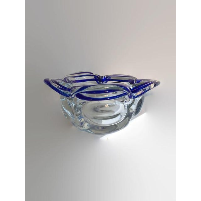 Image of Vintage Murano Style Petal Bowl Blue Striped