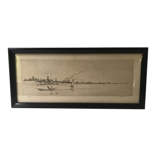 Signed & Framed Waterfront Etching