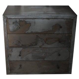 Acid Washed 1990s Metal Wrapped Beechwood Dresser