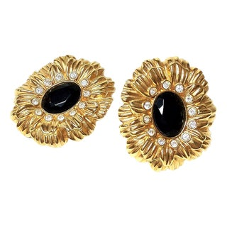 Kenneth Jay Lane Black & Gold Earrings