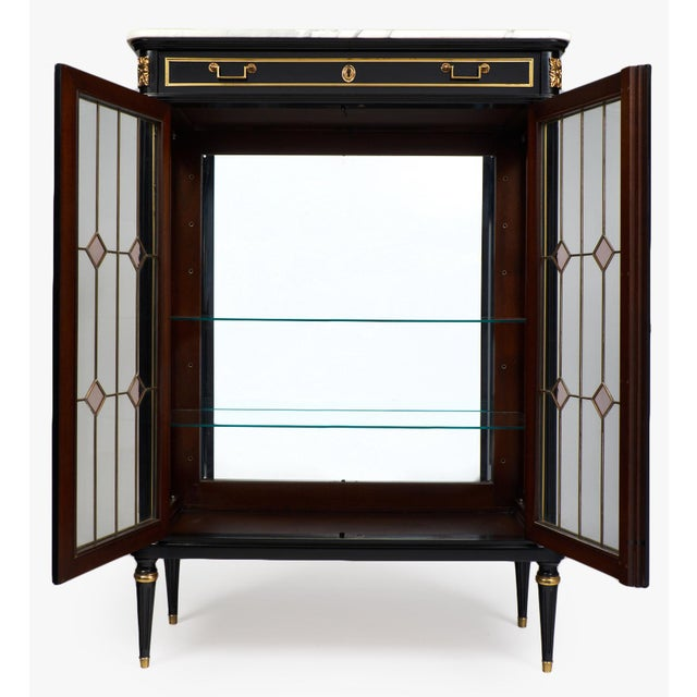 French Louis XVI Marble-Top Vitrine or Bookcase - Image 3 of 10