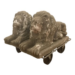 Lions Poured Stone Statues - A Pair