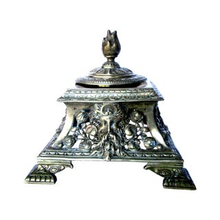 Antique Footed Bronze Inkwell