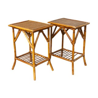 Small Bamboo Side Tables - A Pair