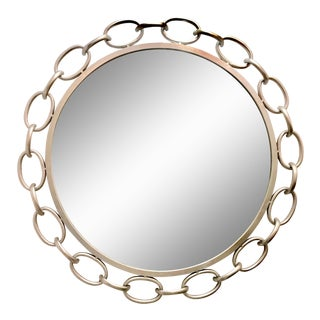 Contemporary Silver Leaf Nickel Chain Link Rope Mirror