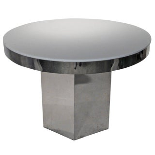 Mid Century Modern Chrome & White Lucite Table with Hexagon Base