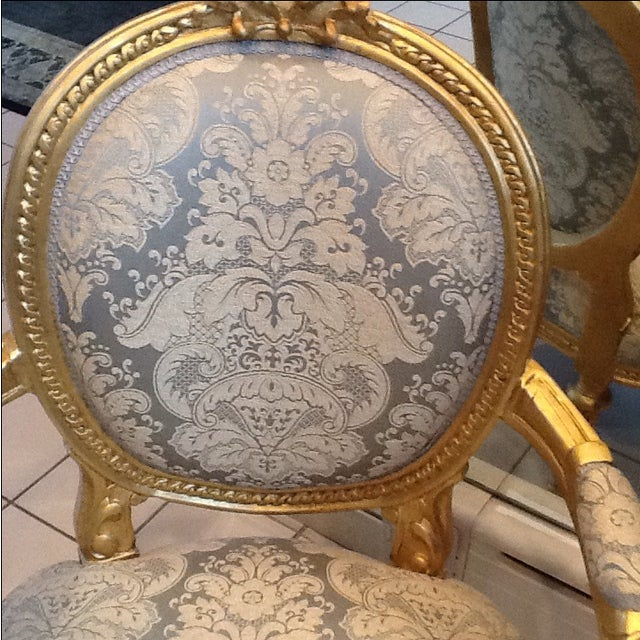 Gold Leaf Neoclassical Chairs - A Pair - Image 4 of 5