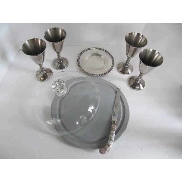 Image of Silver-Plate Glasses/Coaster & Cheese Dome - 7