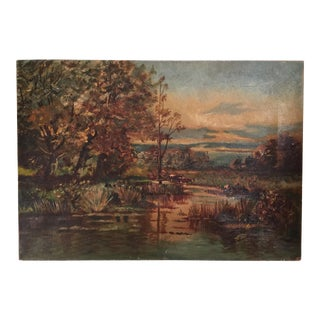 Antique English Landscape Oil Painting