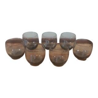 """Monogram """"P"""" Barware Tumblers - Set of 7"""