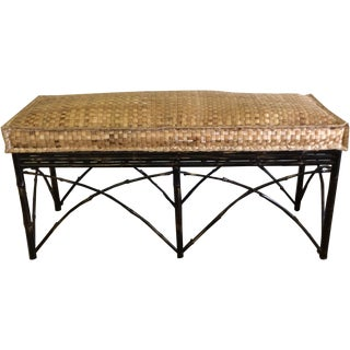 Faux Bamboo & Wicker Cushioned Bench