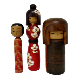Vintage Kokeshi Dolls, Set of 3