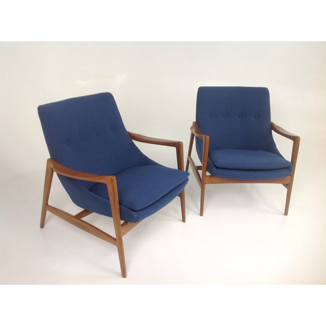 Image of Blue Chenille Mid-Century Lounge Chairs - a Pair