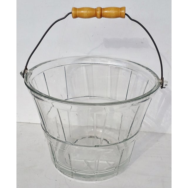 Vintage Glass Bucket W Handle, Wine Cooler - Image 2 of 7