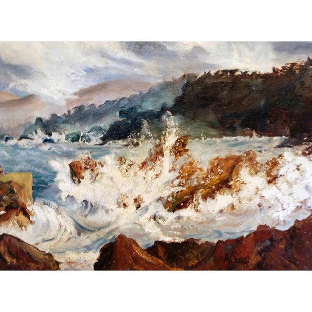 Mid Century Impressionist Ocean Oil Painting - Image 2 of 5