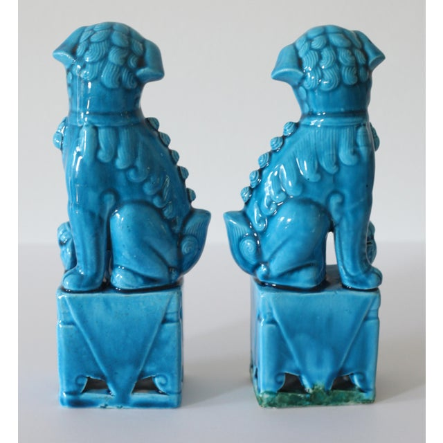 Blue Turquoise Foo Dogs - A Pair - Image 5 of 5