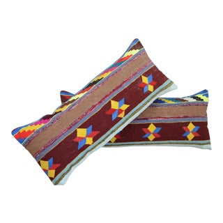 Vintage Turkish Kilim Lumbar Pillow Covers - A Pair