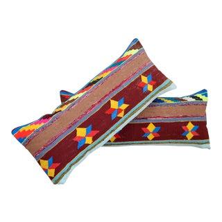 Vintage Turkish Kilim Lumbar Pillow Covers - A Pair