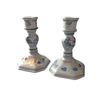 French Cottage Quimper Candlesticks - A Pair