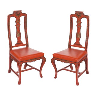 Vintage Red Italian Japanned Chairs - A Pair