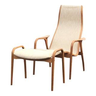 Sleek Swedish Designer Lamino Lounge Chair & Ottoman - A Pair