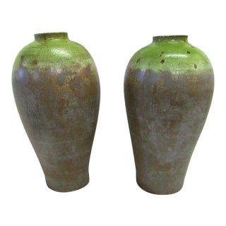 Green & Earth Tone Tapered Ceramic Vases - A Pair
