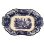 "Image of Flow Blue 12"" Footed Serving Dish"
