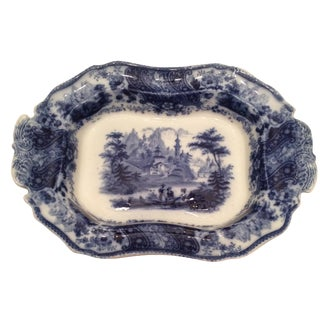 """Flow Blue 12"""" Footed Serving Dish"""