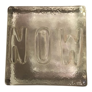 Glass Embossed Now Paperweight