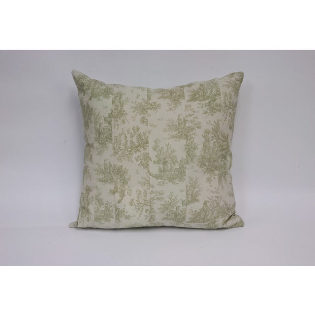 Deconstructed Green & Cream Toile Pillow - Image 2 of 4