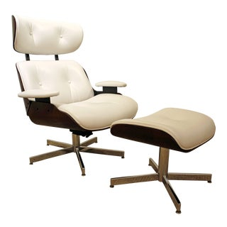 Mid-Century Danish Modern Selig Eames Leather Swivel Lounge Chair/Ottoman-signed